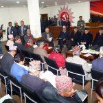 नेकपा स्थायी समिति बैठकमा सदस्यहरुको धारणा सुनिदै, नेता भीम रावलद्वारा फरक प्रतिवेदन पेश