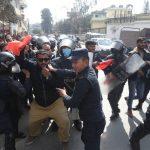 प्रधानमन्त्री निवास अगाडी नेविसंघको सिठ्ठी्सहित नारा जुलुस, कार्यकर्ता पक्राउ